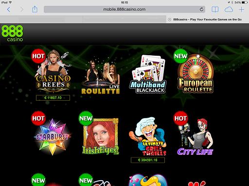 Screenshot van het casino op de Ipad. Je ziet dat het erg gebruiksvriendelijk is.