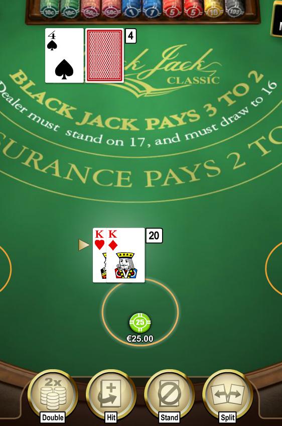 Dit is een ideale situatie om te verdubbelen bij online blackjack spelen.