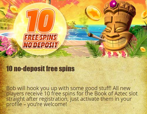 10 free spins voor Book of Aztec bij Bob Casino
