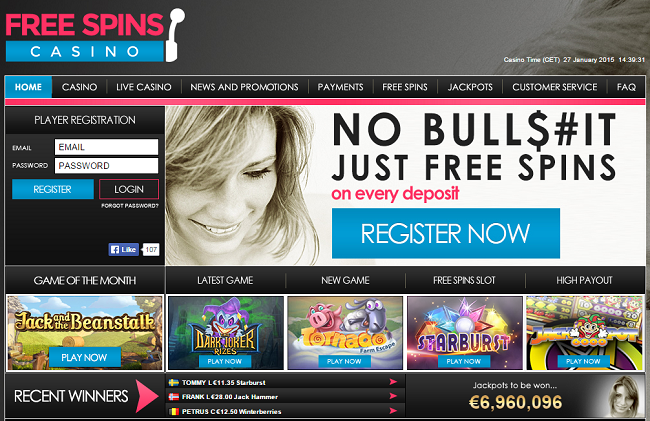 free spins casino deposit options